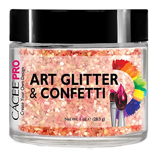 Chunky Peach - Nail Glitter 1 oz Chunky Peach Crushed Shell, #75 by Cacee Art & Confetti (Holographic, Silver, Gold, Chunk, Irridescent, Dust, Unicorn) for Nail Art, Cosmetic, Festivals, and Party