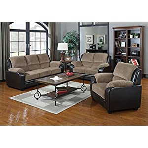 Container Direct Rocco Two-Toned Faux Leather and Corduroy 3 Piece Living Room Set with Sofa, Chair and Loveseat, Beige