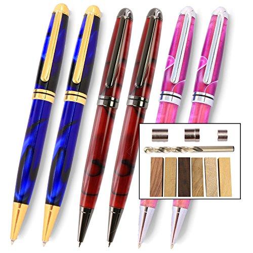 Style Pen Kit - Legacy Woodturning, European Pen Kit Starter Pack with Bushings, Hurricane M42 Cobalt Drill Bit, Pen Kits, Wood Pen Blank Sampler Pack