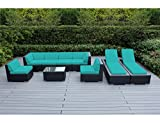 Genuine Ohana Outdoor Sectional Sofa and Chaise Lounge Set (9 Pc Set) with Free Patio Cover (Turquoise) Review