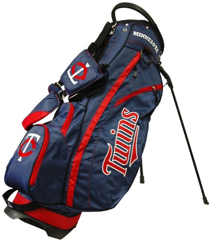 Team Golf MLB Minnesota Twins Fairway Golf Stand Bag, Lightweight, 14-way Top, Spring Action Stand, Insulated Cooler Pocket, Padded Strap, Umbrella Holder & Removable Rain Hood (Minnesota Twins Bag)