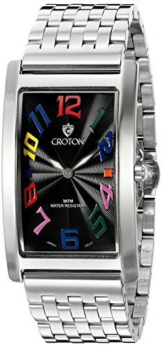 CROTON Men's CN307533SSBK ARISTOCRAT Analog Display Quartz Silver Watch Croton Quartz Bracelet