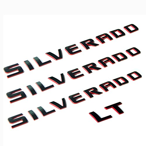 Yoaoo 3x OEM Silverado Nameplate Plus Lt Letter Emblems 3D Badge 1500 2500Hd 3500Hd Original Silverado Series Red Line Redline