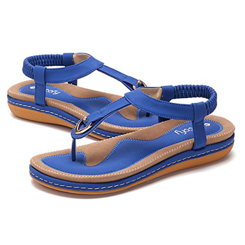 gracosy Women Summer Flat Sandals Bohemian Flip Flops Thongs Comfortable Elastic Clip Toe Flat Beach Sandals Low Wedge Heel Shoes Slingback Slip on Casual Vacation Walking Shoes Size Blue AjadM