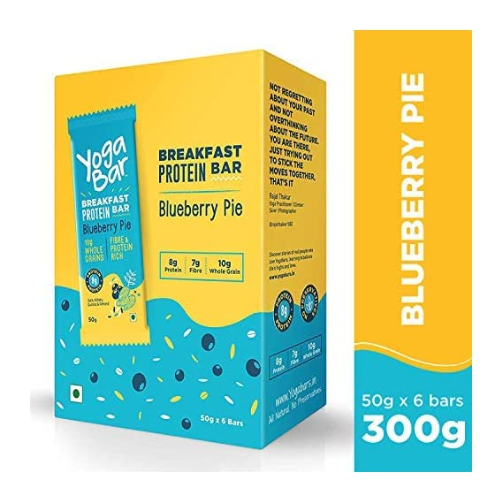 Yogabar Breakfast Protein Blueberry Bars - 300gm, 50 g x 6 Bars