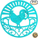 "Silicone Trivets Set For Hot Dishes | Modern Kitchen Hot Pads For Pots & Pans | Country Rooster Design (Symbol of Prosperity & Good Luck) Mimics A Cast Iron Trivet (7.5"" Round, Set of 3, Teal)"