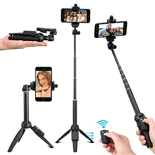 Kwithan Yunteng Selfie Stick Tripod, 40 Inch Extendable Selfie Stick with Wireless Remote and Tripod Stand for iPhone 8/iPhone 8 Plus/X/iPhone 7/iPhone 7 Plus/Galaxy Note 8/S8/S8 Plus & More