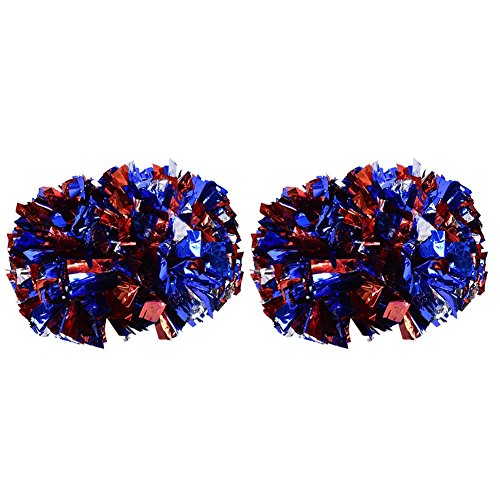 2 Pack Cheerleading Pompoms, Cheering Squad Spirited Fun Cheerleading Kit Cheerleader Aerobics Pom Poms for Team Spirit Dance Party School Sports Competition Stage Performance(Silver+Red+Blue) -