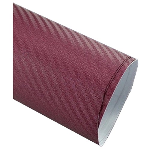 TOOGOO 50127cm 3D Carbon Fiber Vinyl Car Wrap Sheet Roll Film Sticker Decal Wine Red