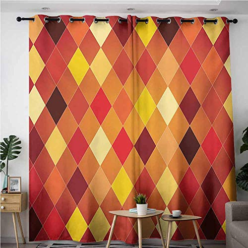 - VIVIDX Simple Curtains,Geometric Argyle Pattern with Colorful Rhombuses Classic Lozenge Geometric Arrangement,Blackout Window Curtain 2 Panel,W84x84L,Multicolor