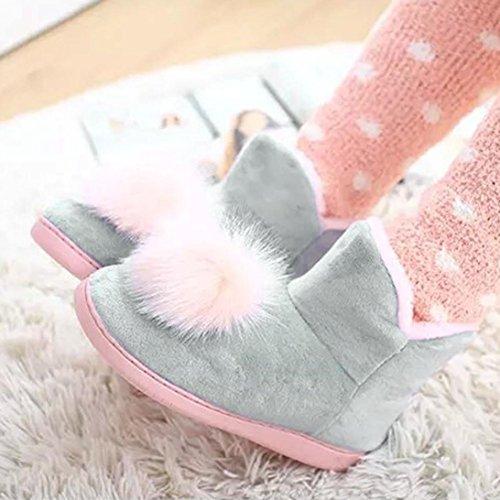 Zapatillas para mujeres embarazadas,Ouneed ® Mujeres Calzados Inicio Calzado De Pelo Invierno Cálido Mujeres Embarazadas Zapatos Gris