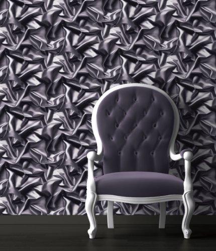 Grey-Black - F72909 - 3D Gathered Silk Effect - Crushed Velvet - Muriva Wallpaper