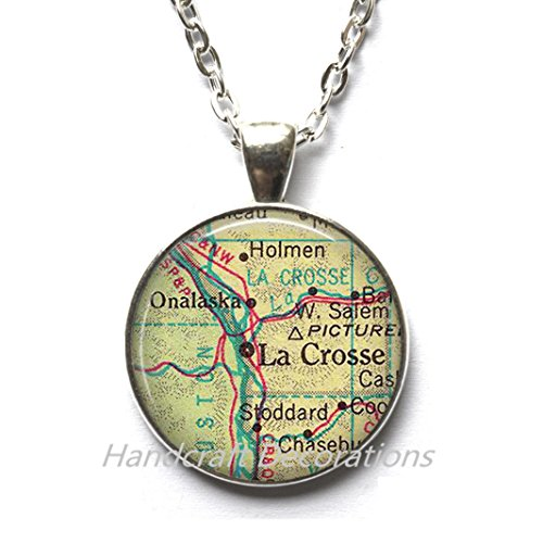 Charming Necklace La Crosse, Wisconsin map Necklace, LaCrosse Necklace LaCrosse Pendant map jewelry, map Pendant,A0079 by HandcraftDecorations (Image #1)