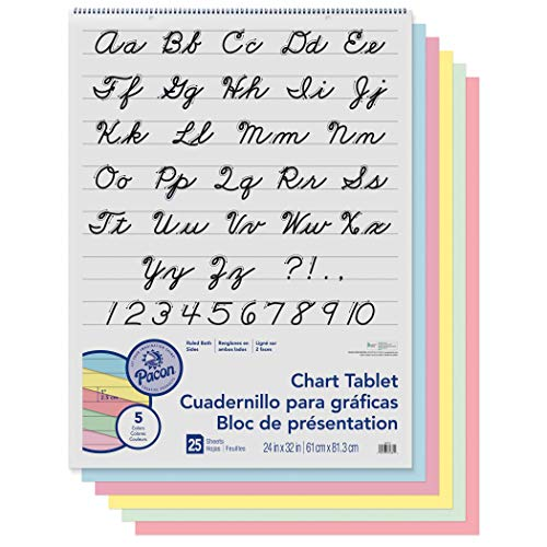 Pacon PAC74731 Chart Tablet, Cursive Cover, Assorted 5 Colors Inside, 1
