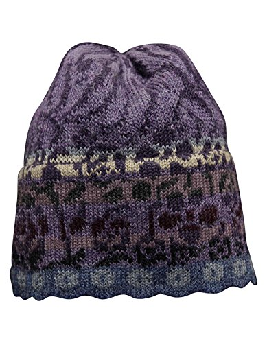 Invisible World 100% Alpaca Hand Knit Beanie Hat Viola MD