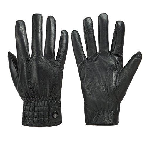 Gloue Unisex Leather Gloves Waterproof Touchscreen Gloves Winter Outdoor Driving Gloves For Women   Men Black