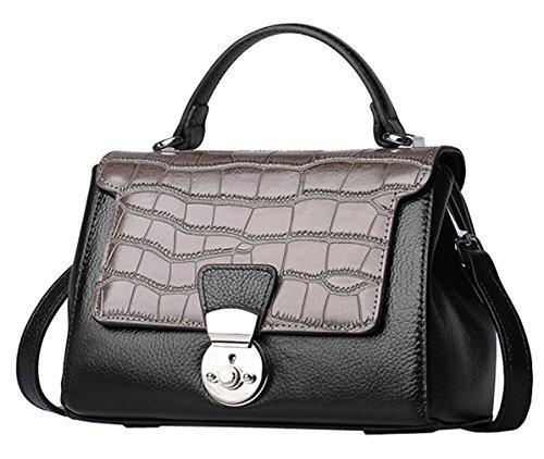 SAIERLONG Nueva Mujer Gris-plata Zurriago Del Cuero Genuino Shoppers y bolsos de hombro gris oscuro
