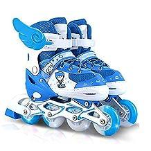 CHILDREN INLINE SKATES ROLLER SOFT SHELL ADJUSTABLE BLUE PU WHEELS ABEC