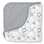 SwaddleDesigns Snuggle Blanket Microfiber & Cotton Muslin, Sterling Starshine Shimmer & Gray Plush Dots