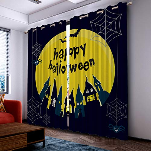 Prime Leader Curtains for Living Room- Darkening Thermal Insulated Window Treatment Curtains, with Grommet Home Decor Happy Halloween Castle and Bats (2 Panels, 52 x 52 Inch Each Panel) ()
