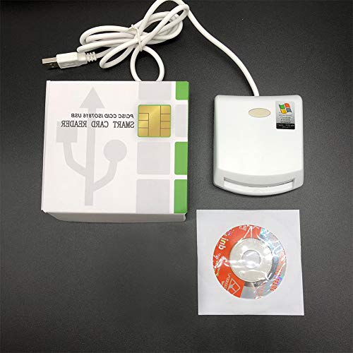 EMV SIM eID Smart Chip Card Reader Writer Programmer #N99 for Contact Memory Chip Card &SDK Kit,Compatible with Windows (White) (Emv Card)