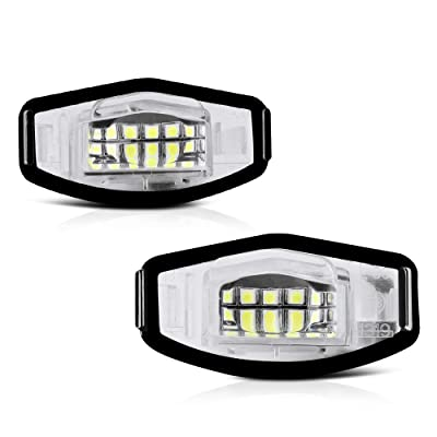 VIPMOTOZ Full LED License Plate Light Lamp Assembly Replacement For Honda Accord Sedan Odyssey Pilot Civic & Acura MDX TSX TL ILX RDX RL - 6000K Diamond White, 2-Pieces: Automotive