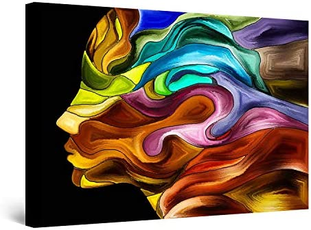 GIRL FACE LOVE ABSTRACT CANVAS WALL ART PICTURE LARGE AB665 MATAGA NO FRAME