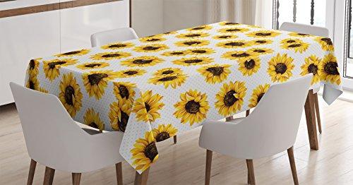 (Ambesonne Sunflower Decor Tablecloth, Sunflower Flowers on Polkadot Background Feminine Fresh Garden Fall Seasonal Art, Dining Room Kitchen Rectangular Table Cover, 60 X 84 inches)