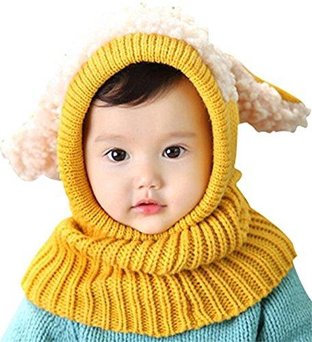 (Cute Baby Kids Girls Boys Warm Winter Stretchy Sheep Cap Hat Beanie (Yellow))