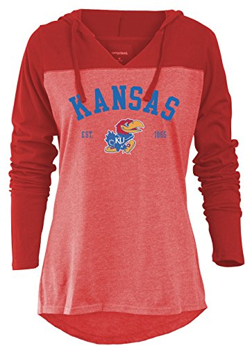 NCAA Kansas Jayhawks Women's Color Block Long Sleeve Hoodie, Large, Red (Womens Sleeve Long Knockout)
