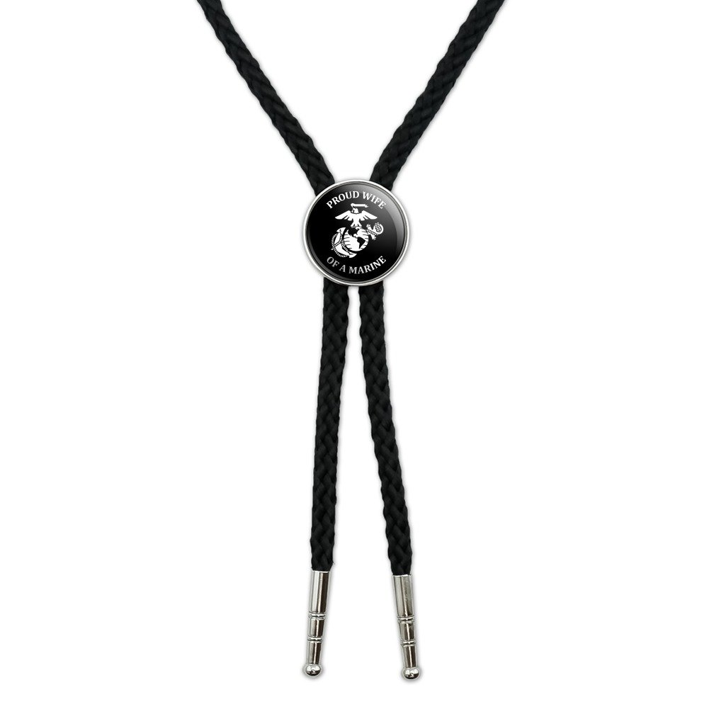 Proud Wife of a Marine USMC White Logo on Black Officially Licensed Western Southwest Cowboy Necktie Bow Bolo Tie