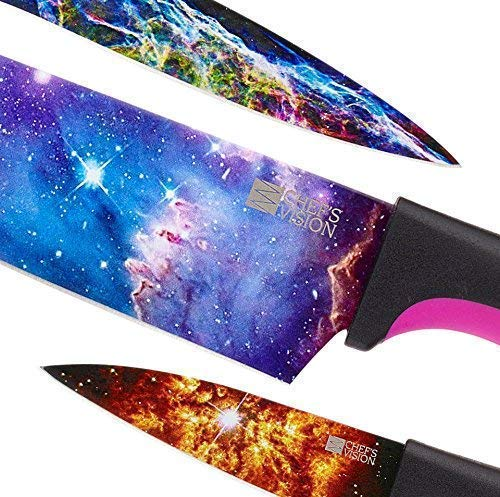 Cosmos Kitchen Knife Set in Gift Box - Unique Gifts For Men and For Women - 6-Piece Colorful Cooking Chef Knives Set - Best Xmas Gift, Birthday, Anniversary or Appreciation Present Idea - Regalos by Chef's Vision (Image #2)