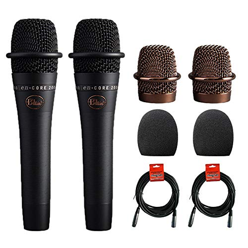 Blue enCORE 200 Active Dynamic Handheld Vocal Microphone (Black) 2-Pack with (2) 1-5/9