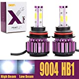 xenon headlights 9004 - 9004 HB1 LED Headlight Bulbs 20000LM 200W High Low Dual Beam 360 Degree 4 Side COB Chips 6000K Cool White Super Bright Auto Headlamps Conversion Kit All-in-One Plug & Play - 2 Yr Warranty