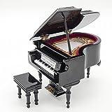 Odoria 1:12 Miniature Piano à queue avec tabouret avec étui Boîte à musique Instruments de Musique de Maison de Poupée