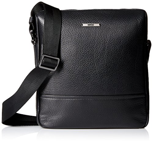 HUGO Hugo Boss Men's Element Leather Zip Reporter Bag, Black (Bags Boss Men)