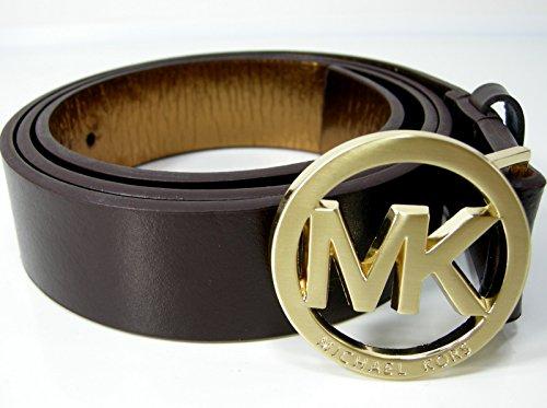 "New Michael Kors MK Logo Belt Leather Upper Brown Gold Large 36.5 to 40 1/2"""