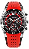 Comtex Men's Watch Cool Sports Watch Chronograph Military with Red Leather