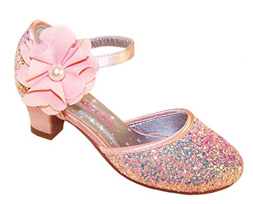 Picture of Girls' Peach Sparkly Glitter Special Occasion Low Heeled Shoes Synthetic Mary-Jane
