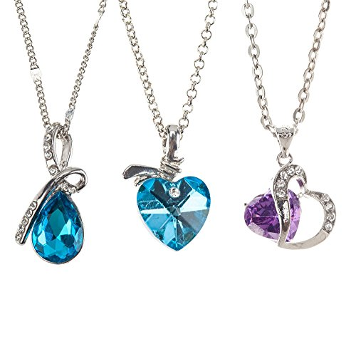 (Best Value Jewelry Set Kit With 3 Romantic Silver Metal Necklaces And Different Crystals / Gemstones / Jewels Pendants Including Blue Heart Shaped, Sea Blue Water / Tear Drop Shape And Purple Diamante In Silver Metal Heart Frame Studded With Clear Rhinestones On Chains By VAGA®)