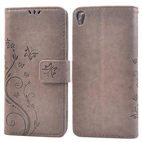 COOLKE etro Mariposas Patrón PU Leather Wallet With Card Pouch Stand de protección Funda Carcasa Cuero Tapa Case Cover para Sony Xperia XA - Rosa Gris