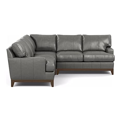 Ethan Allen Arcata Three Piece Leather Sectional, Omni Charcoal Top-Grain  Leather