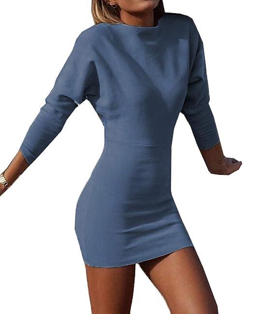 151ba6288cf2 JackenLOVE Primavera Autunno Manica Lunga Maglioni Vestiti Sexy Vestito a  Tubino Strette Donne Mini Abiti da Partito Festa Club Moda Rotondo Collo  Maglieria ...