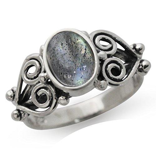 Victorian Style Ring (Natural Labradorite Antique Finish 925 Sterling Silver Victorian Style Ring Size 9)