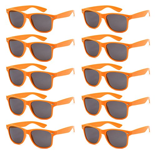 WHOLESALE UNISEX 80'S STYLE RETRO BULK LOT SUNGLASSES (Tangerine Orange, Smoke) -