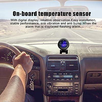 Round LED Digital Car Truck Water Temp Gauge Temperature Sensor Temperatura Moto Voltmeter Volt Voltage Meter 2 in 1 12V 24V