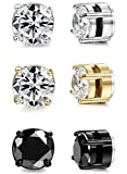 ORAZIO 3 Pairs Stainless Steel Magnetic Stud Earrings for Womens Mens Non Piercing Cubic Zirconia 8mm