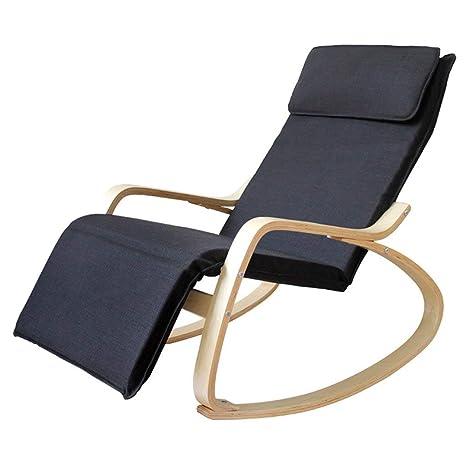 Cómoda mecedora de madera Sillón reclinable relajante de ...