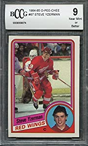 1984-85 o-pee-chee #67 STEVE YZERMAN detroit red wings rookie card BGS BCCG 9 Graded Card
