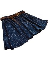Sweet Blue Girls Pleated Floral Chiffon Mini Skirt with Belt